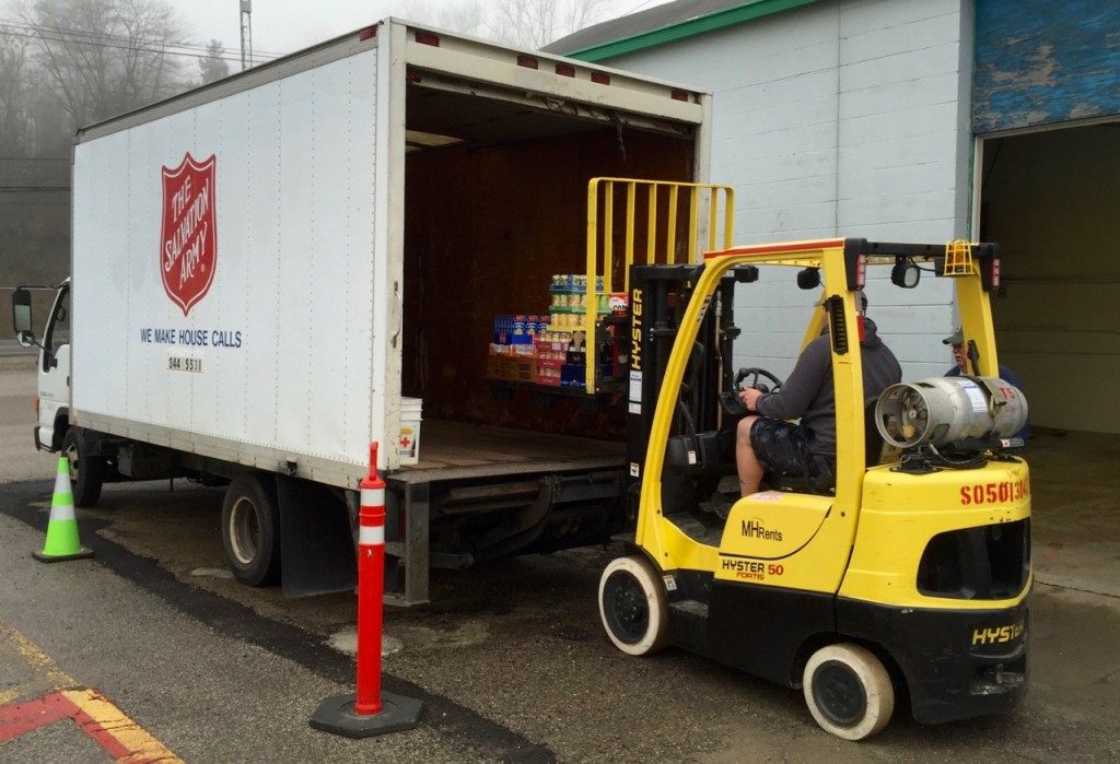 The first distribution Saturday of 2016 for United Food Operation. Salvation Army truck.